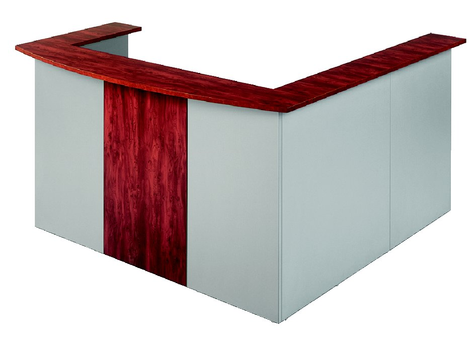 Merlin Radial Reception Desk Titanium Redwood