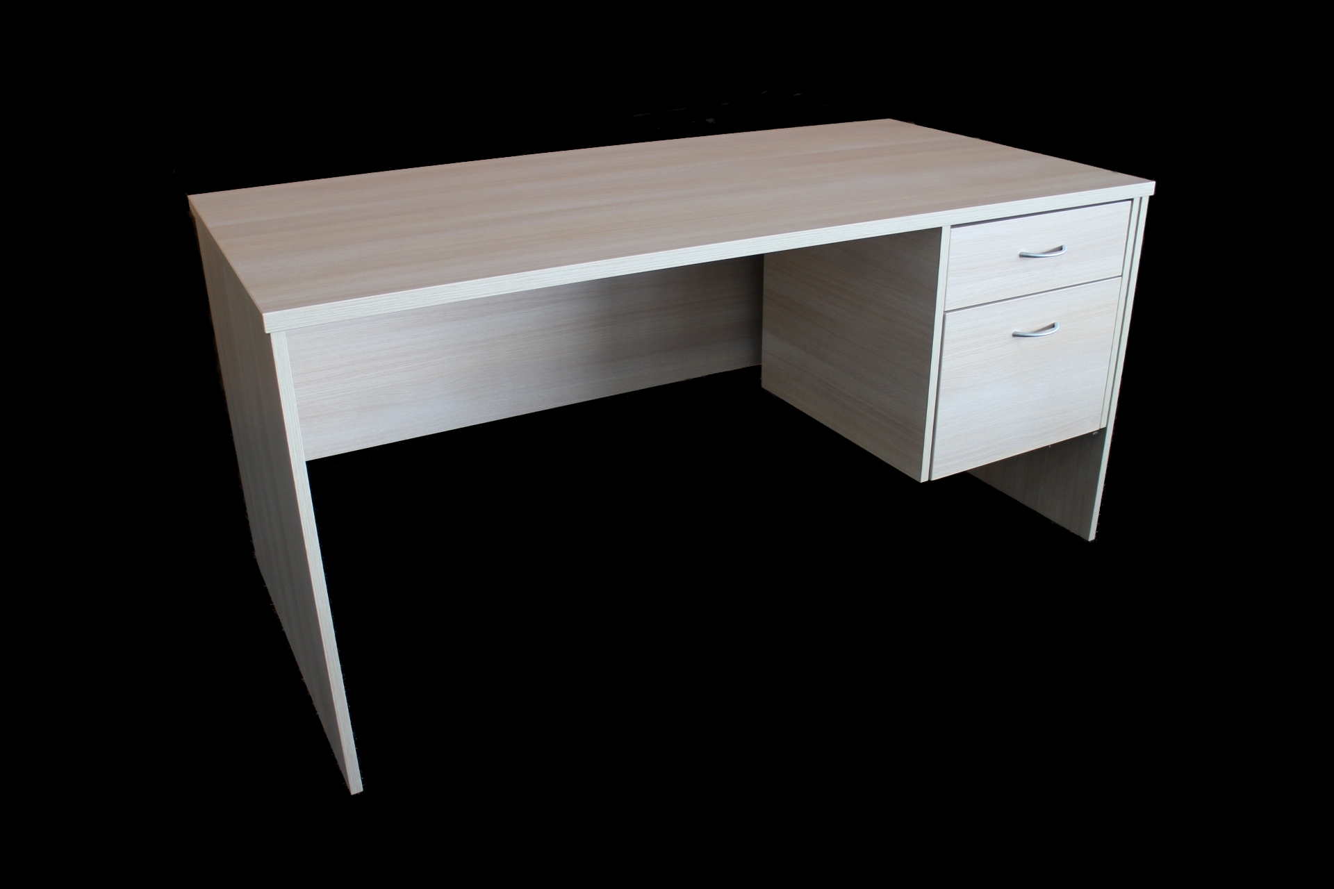 1500 x 750 Natural Oak Desk with fixed pedestal