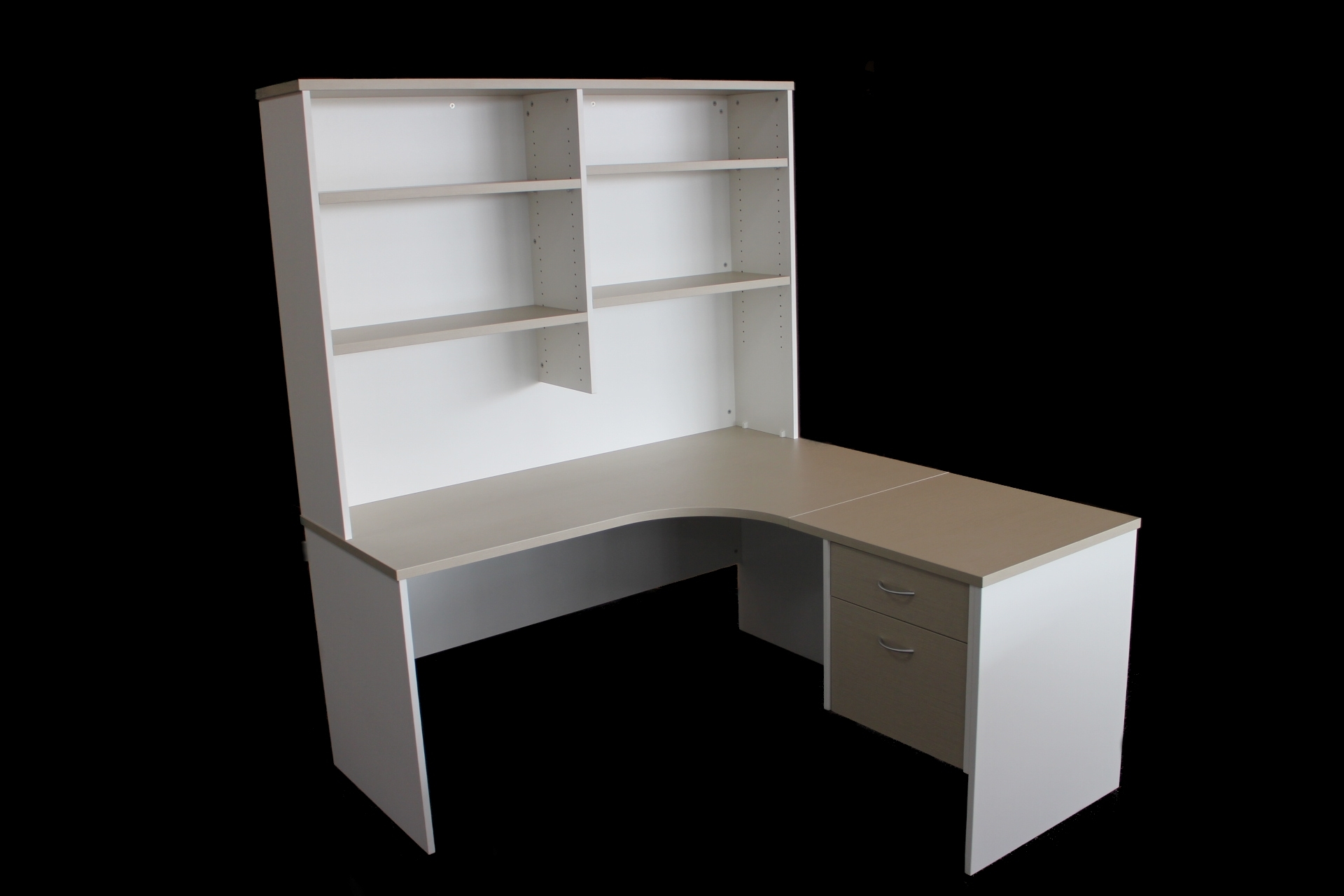 Oyster Linea and White radial workstation with adjustable shelf hutch