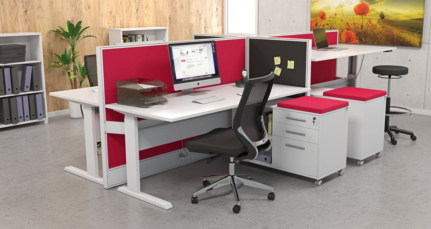 Axis Height Adjustable Desk 4 Pod with Studio Screens