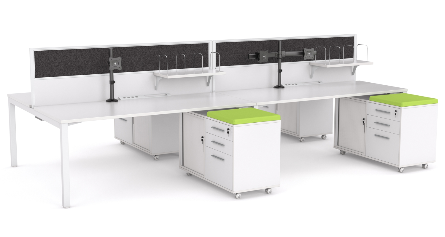Axis 4 Person Desk with Mobile Caddies, Screen Fixed Shelves and Monitor Arms