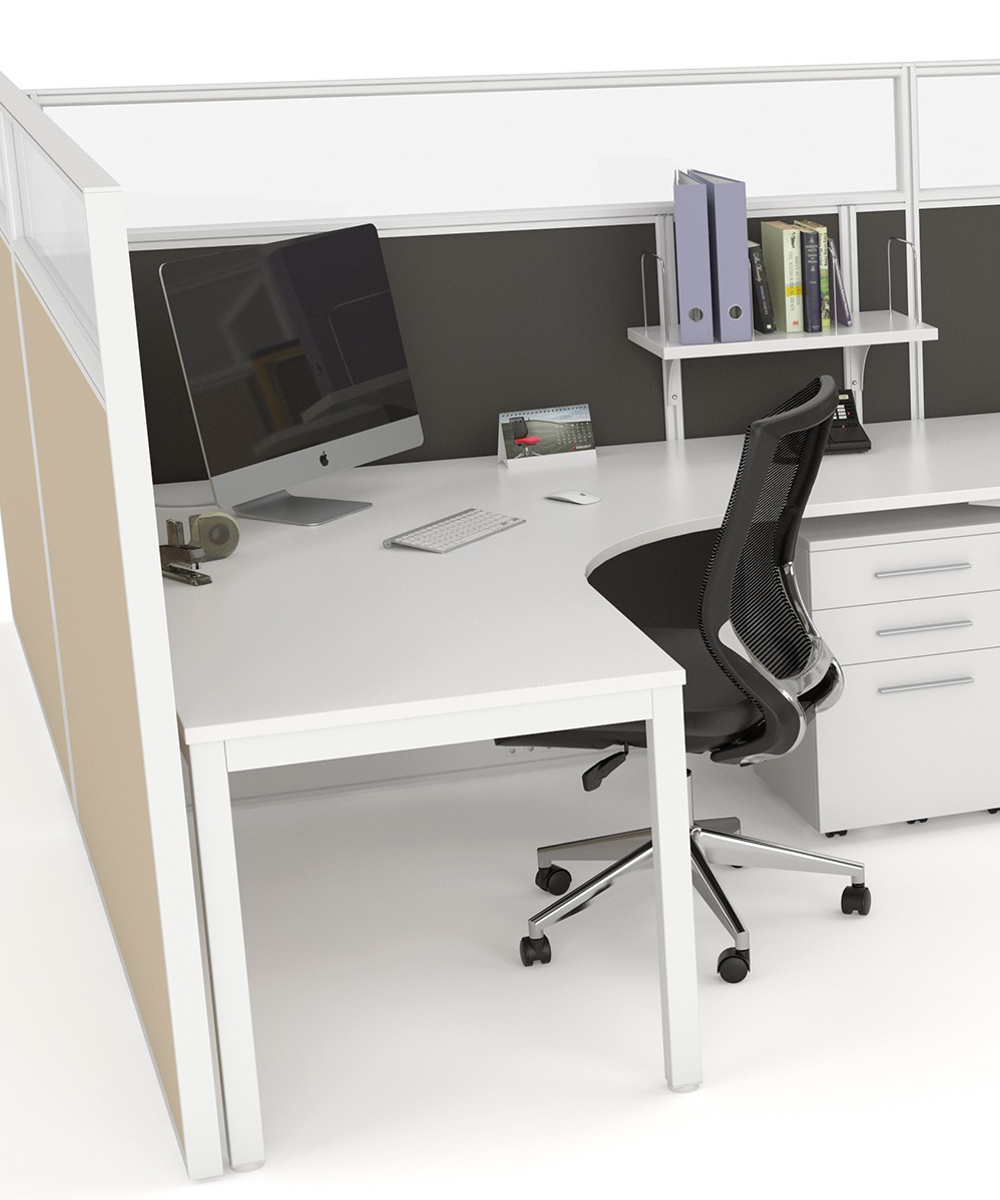 Axis Corner Workstations with Studio Screens and Translucent Panels