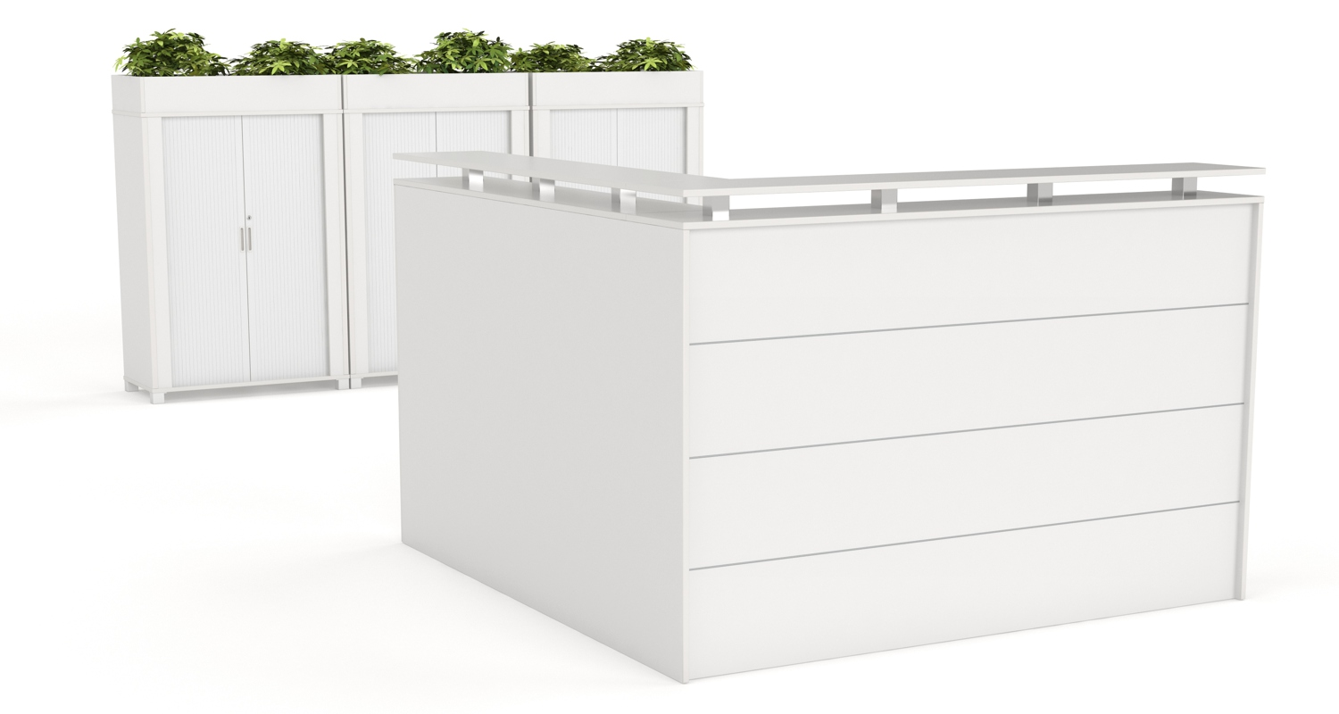 Axis Reception Counter with Tambour Cabinets with Planter Boxes