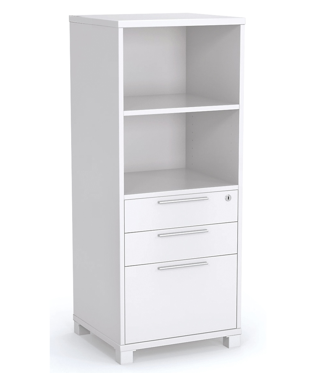 Tower Unit with Drawers and Open Shelving