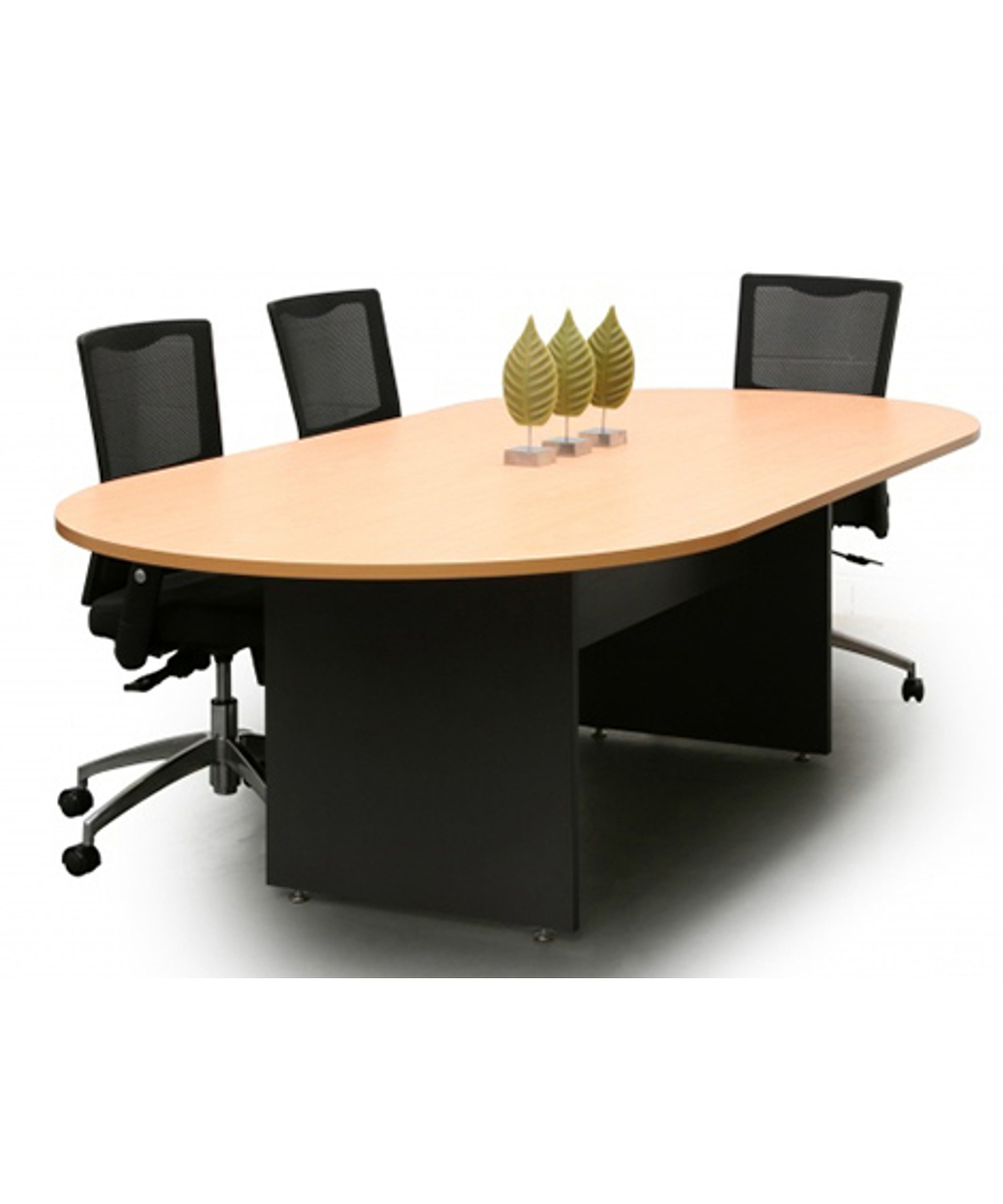 Beech and Ironstone D-End Boardroom Table
