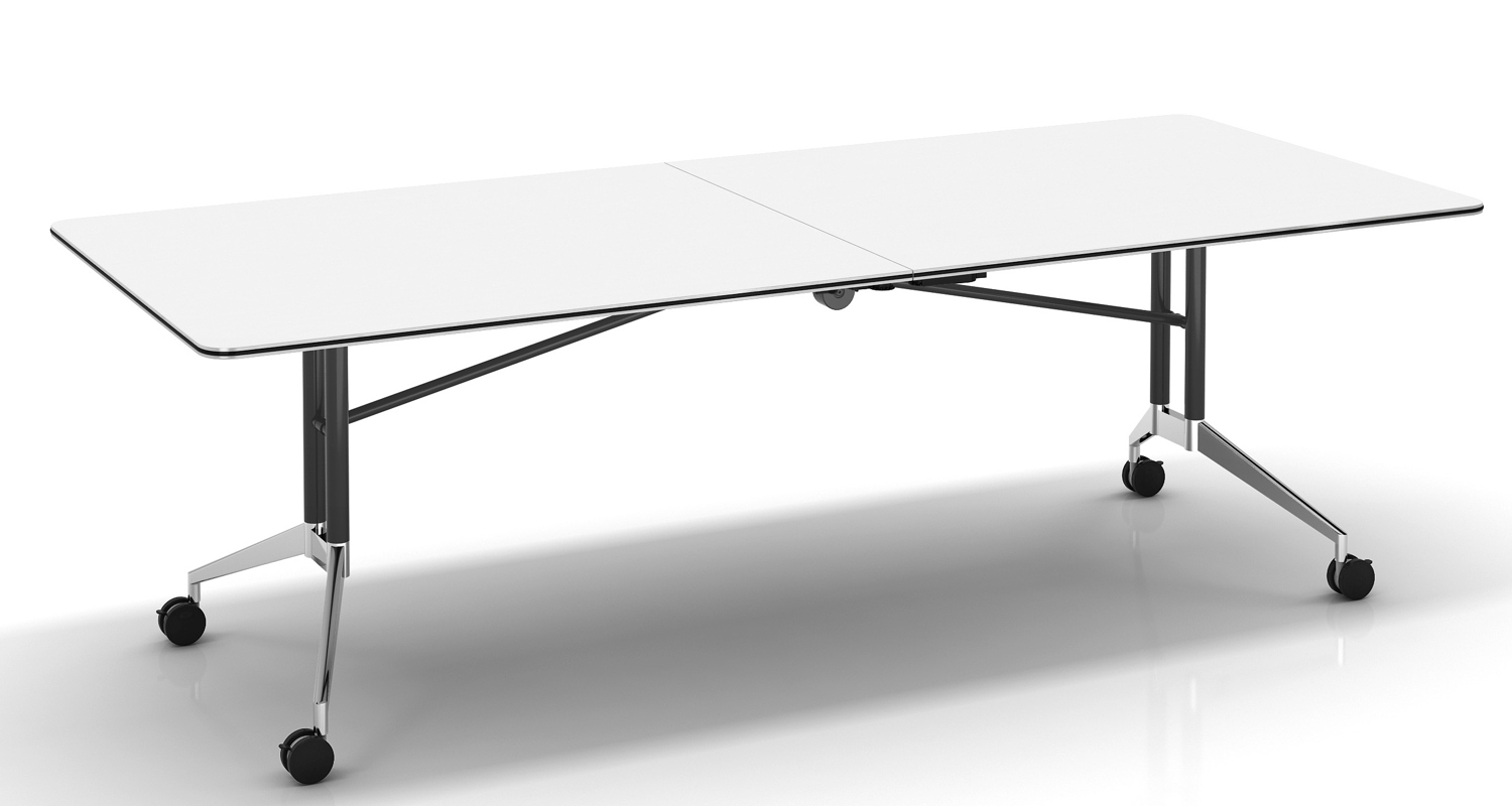 White Edge Folding Boardroom Table 2400mm