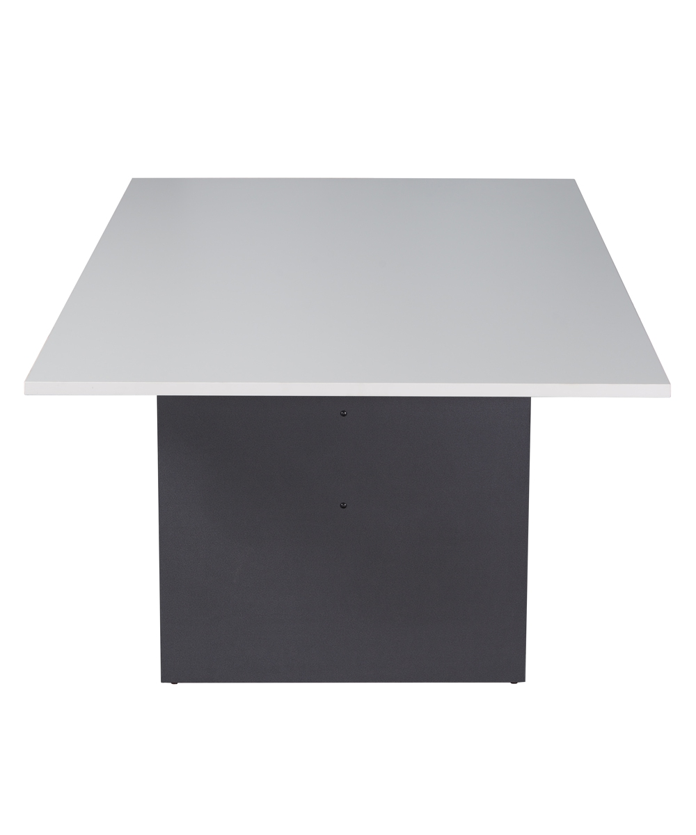 White and Ironstone Rectangular Boardroom Table 2400mm