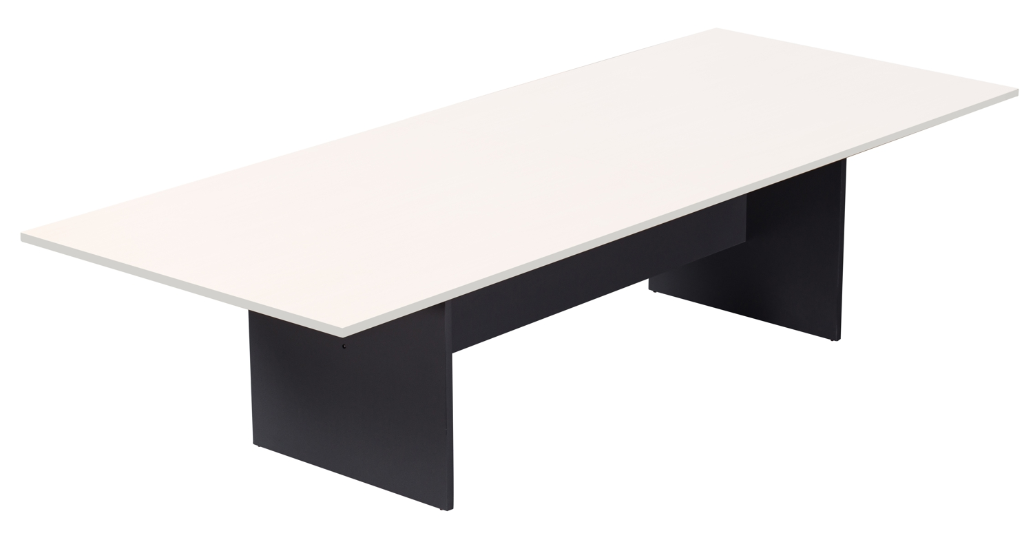 White and Ironstone Rectangular Boardroom Table 3200mm