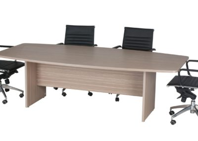 Budget Boardroom Table Boatshaped Tawny Line with Mercury Chairs