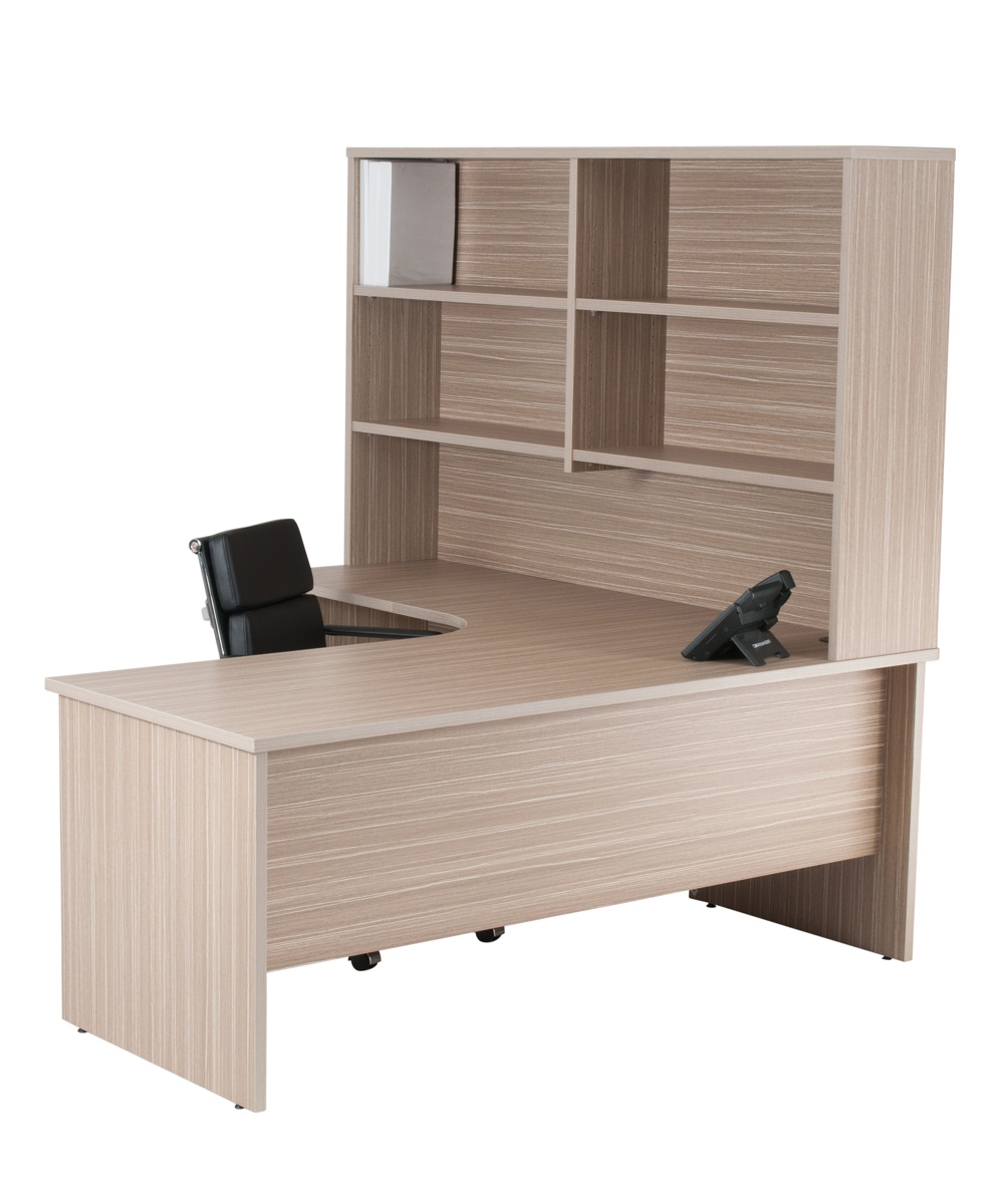 Budget Radial Desk Tawny Line with hutch