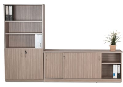 Combo Cupboard and Sliding Door Credenza Tawny Line