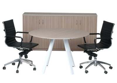 Meeting Table with 4 Door Credenza Tawny Line finish