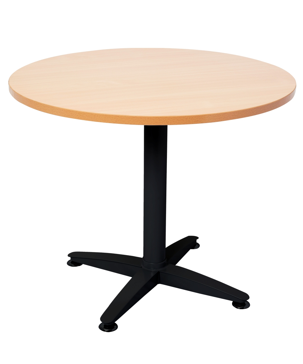 Span Round Table Black Frame 900mm Beech Top