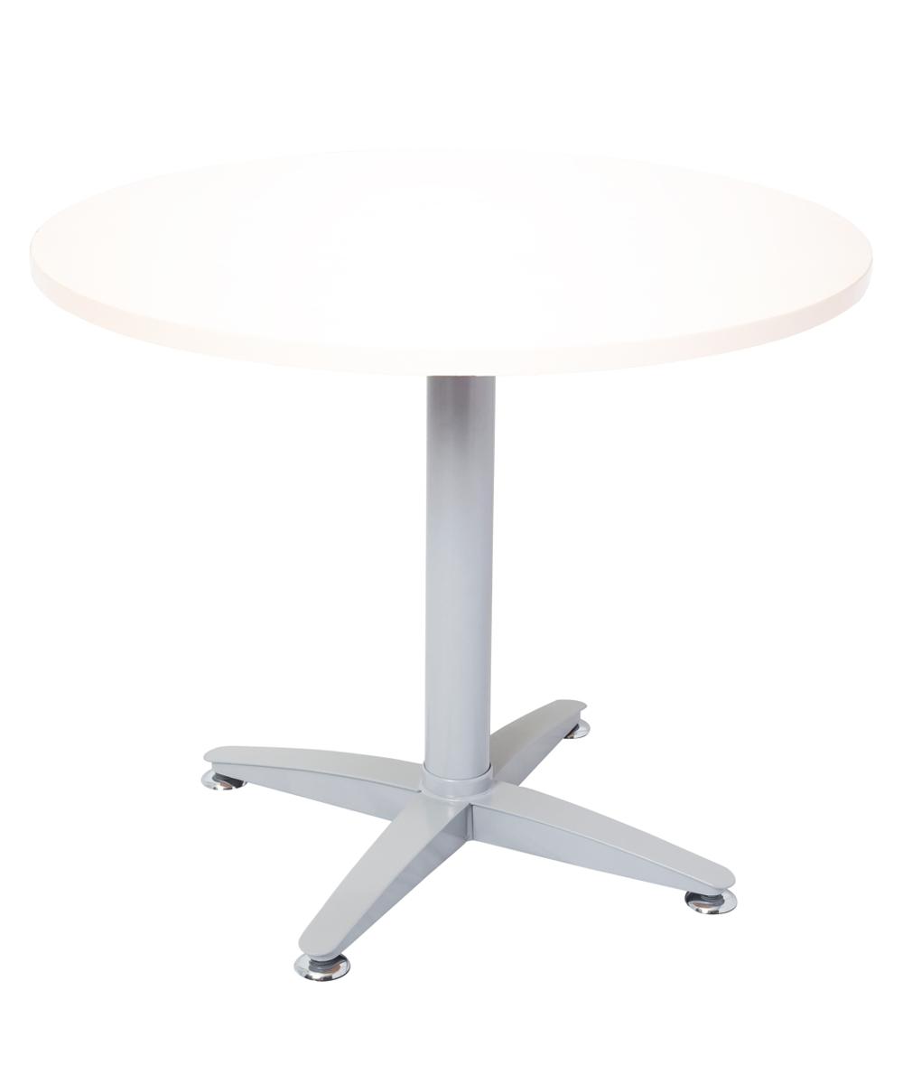 Span Round Table Precious Silver Frame 900mm White Top