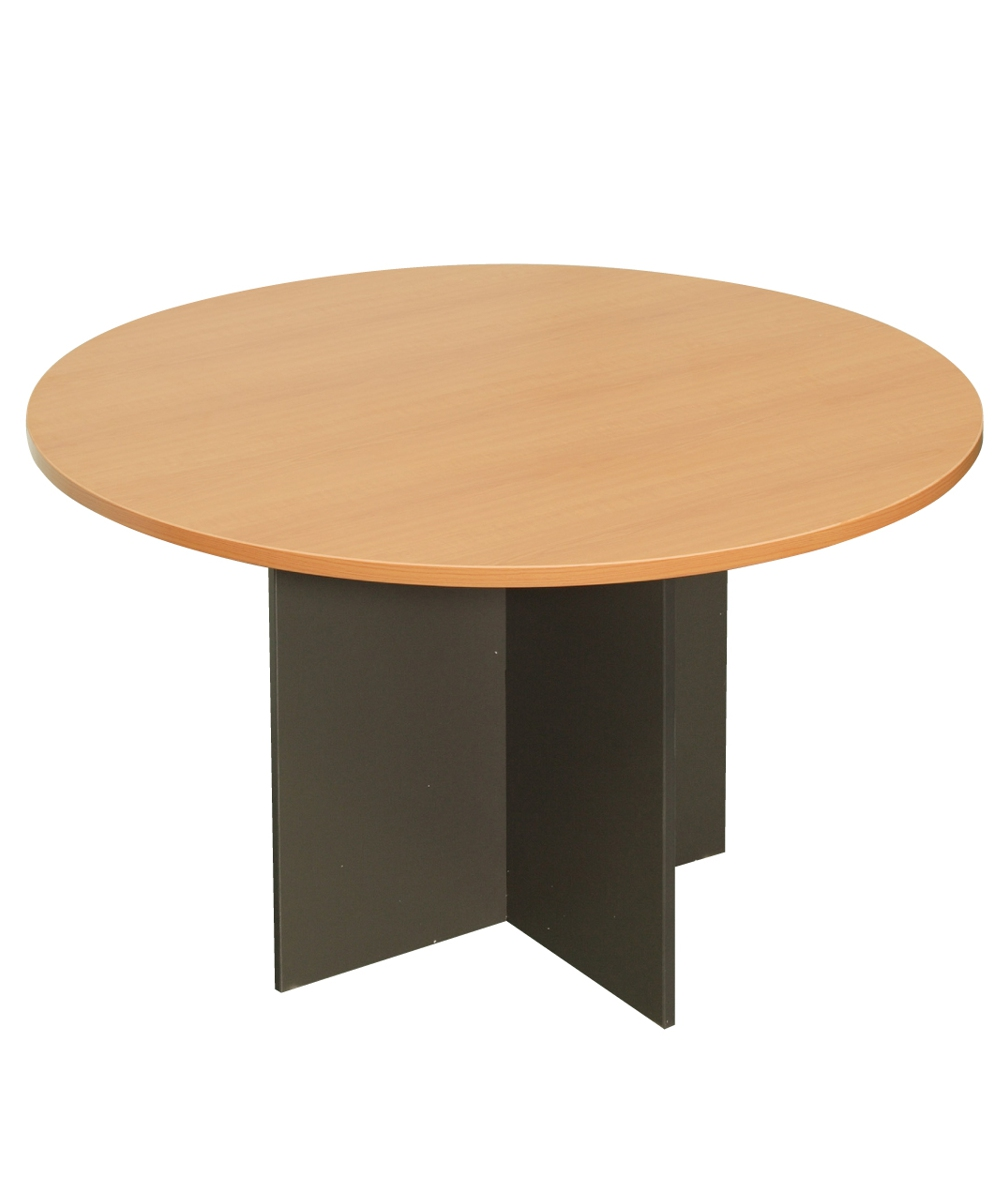 X-Base Round Table Beech and Ironstone 1200mm