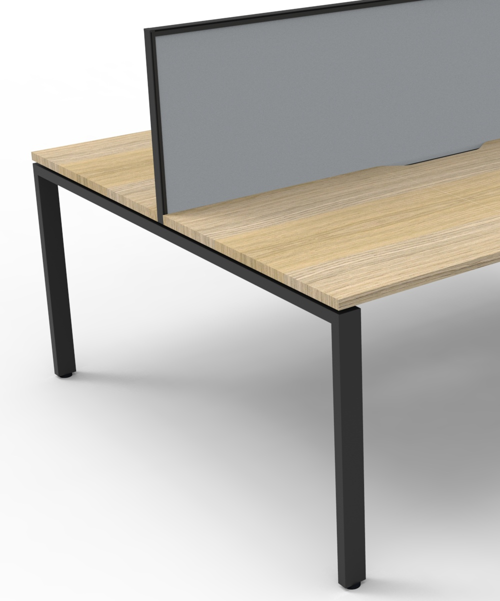 Infinity Back 2 Back Workstation Natural Oak Tops, Grey Fabric Screen and Black Profile Legs