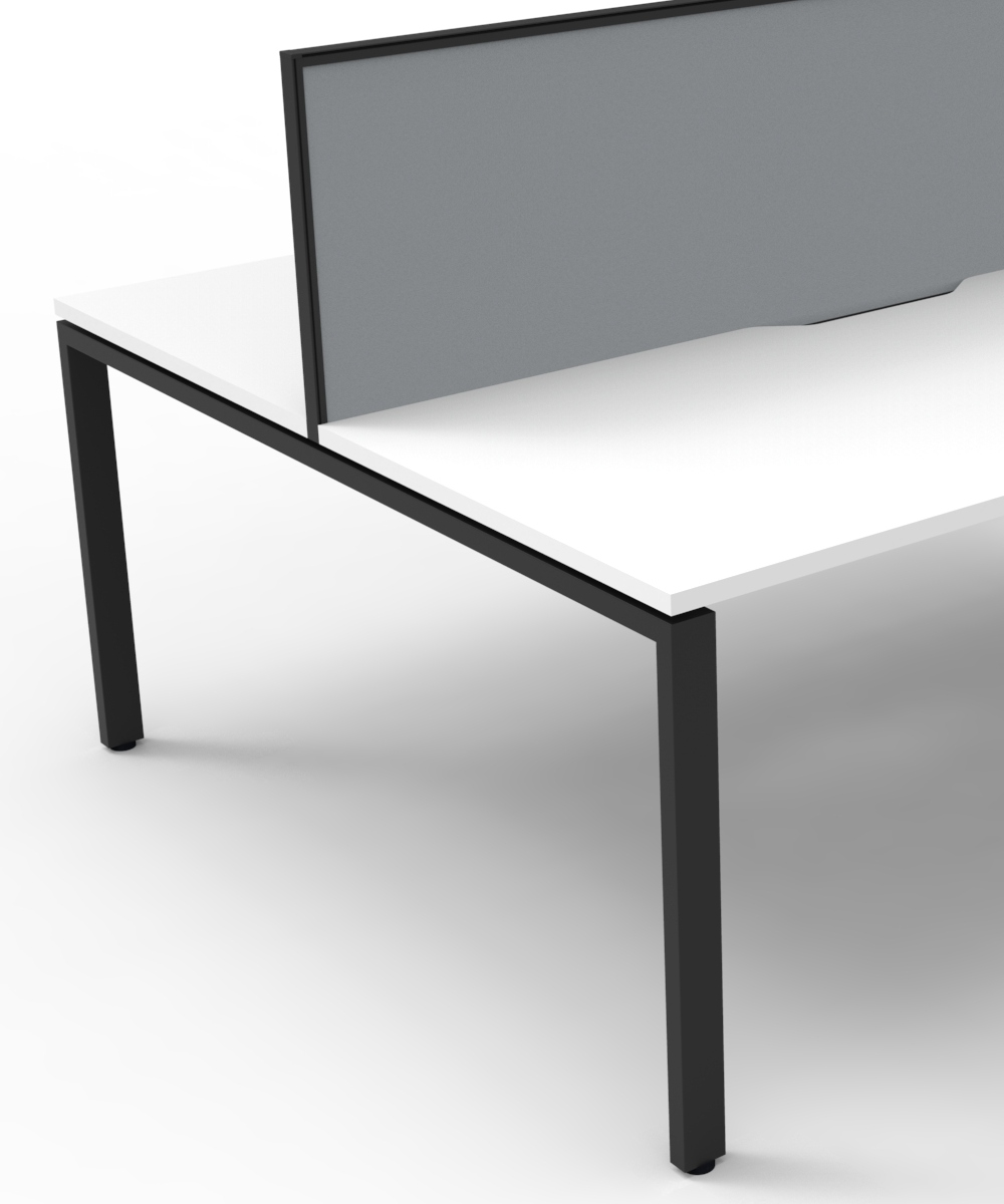 Infinity Back 2 Back Workstation White Tops, Grey Fabric Screen and Black Profile Legs