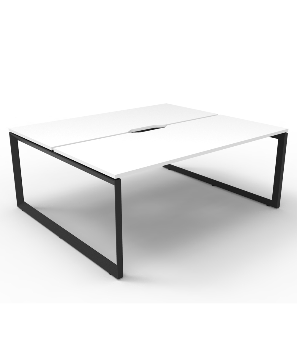 Infinity Back 2 Back Workstation White Tops with Black Loop Legs
