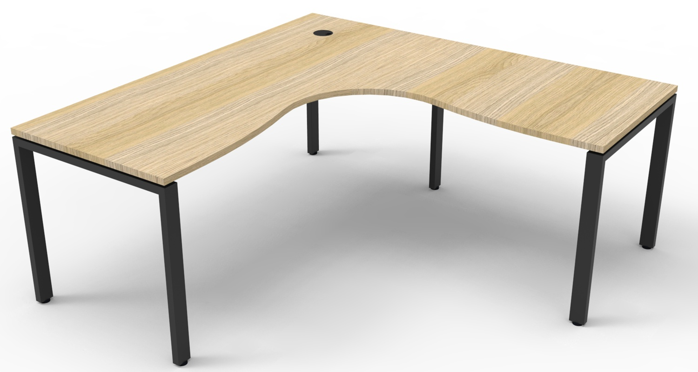 Infinity Corner Workstation Natural Oak Top and Black Profile Legs