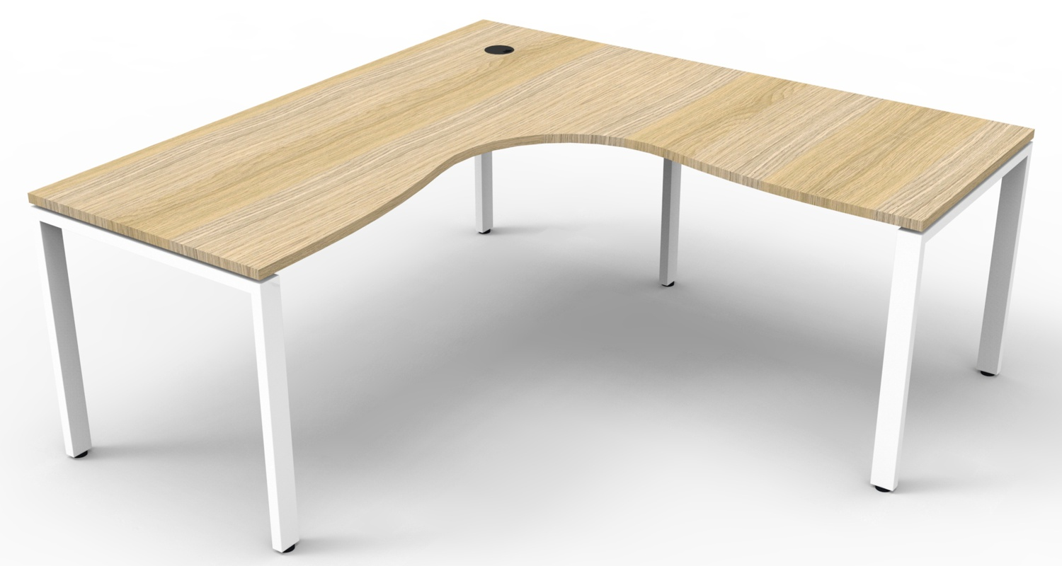 Infinity Corner Workstation Natural Oak Top and White Profile Legs