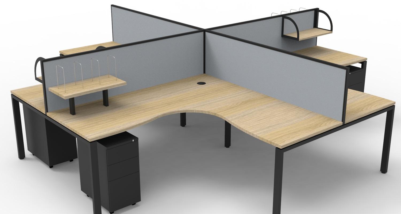 Infinity Corner Workstation Natural Oak Tops, Black Profile Legs, Grey Fabric Screens with Black Steel Mobile Pedestals