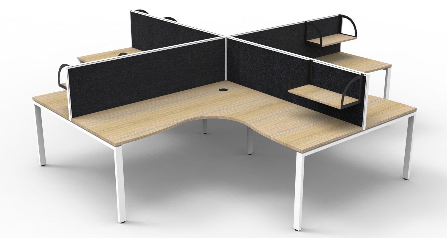 Infinity Corner Workstation Natural Oak Tops, White Profile Legs, Black Fabric Screens with Screen Hung Shelves