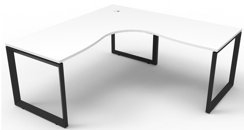 Infinity Corner Workstation White Top and Black Loop Legs