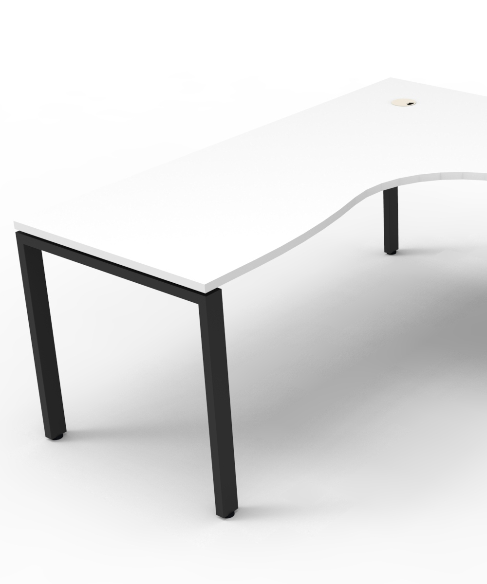 Infinity Corner Workstation White Top and Black Profile Legs