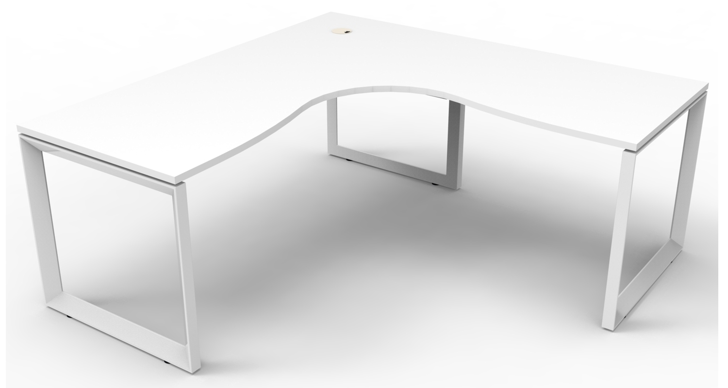 Infinity Corner Workstation White Top and White Loop Legs