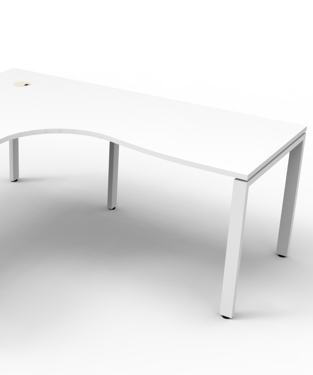 Infinity Corner Workstation White Top and White Profile Legs