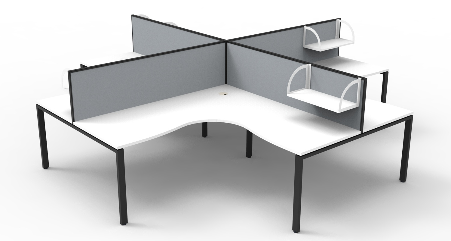 Infinity Corner Workstation White Tops, Black Profile Legs, Grey Fabric Screens with Screen Hung Shelves