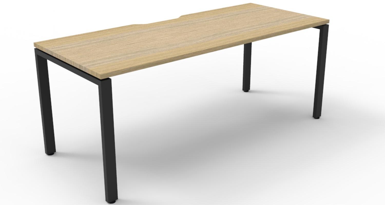 Infinity Desk Natural Oak Top with Black Profile Legs