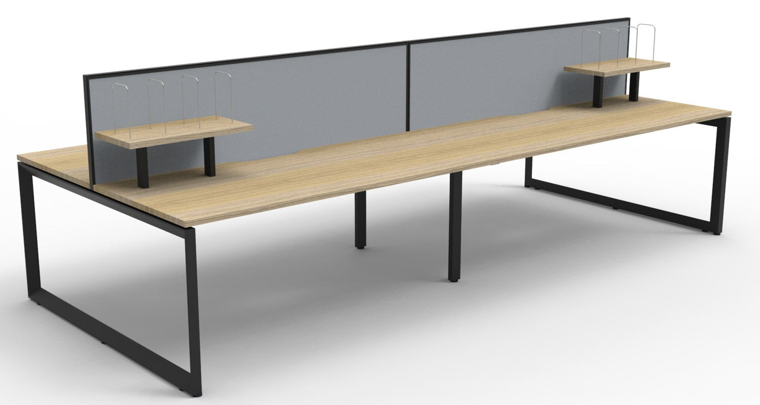 Infinity Workstations Natural Oak Tops, Black Loop Legs, Grey Fabric Screens and Desk Mounted Shelves