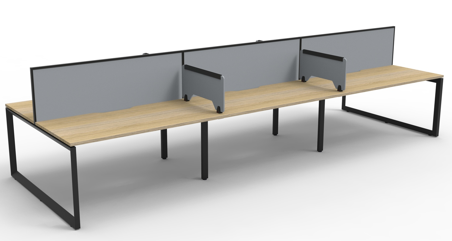 Infinity Workstations Natural Oak Tops, Black Loop Legs, Grey Fabric Screens and Grey Return Screens