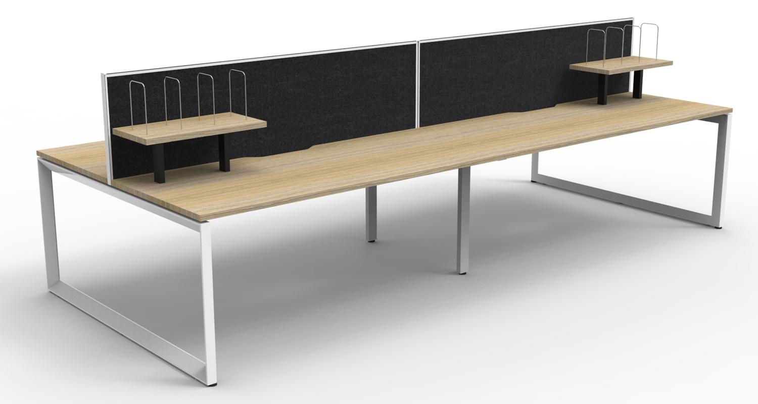 Infinity Workstations Natural Oak Tops, White Loop Legs, Black Fabric Screens and Desk Mounted Shelves