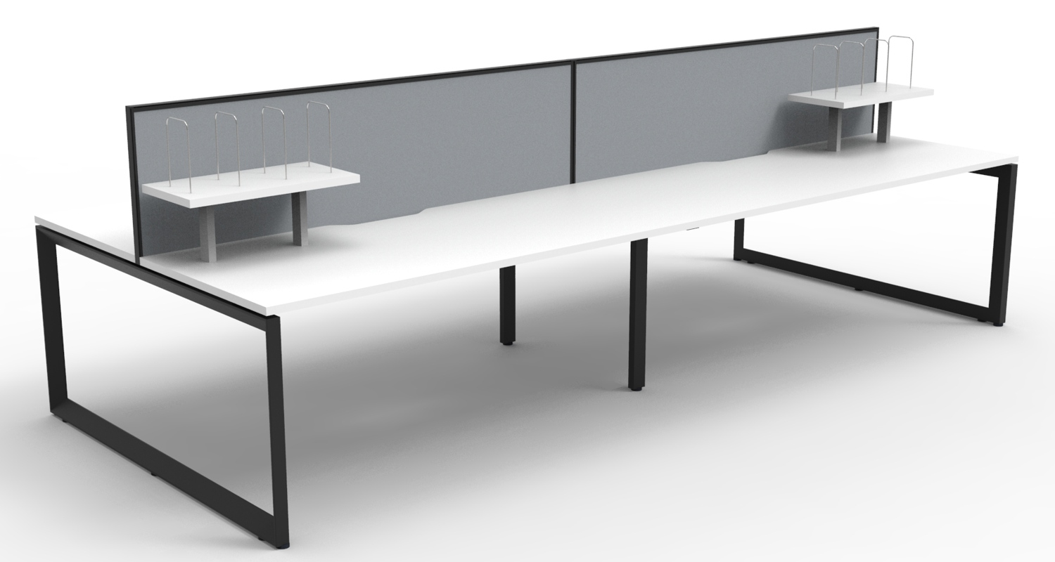 Infinity Workstations White Tops, Black Loop Legs, Grey Fabric Screens and Desk Mounted Shelves