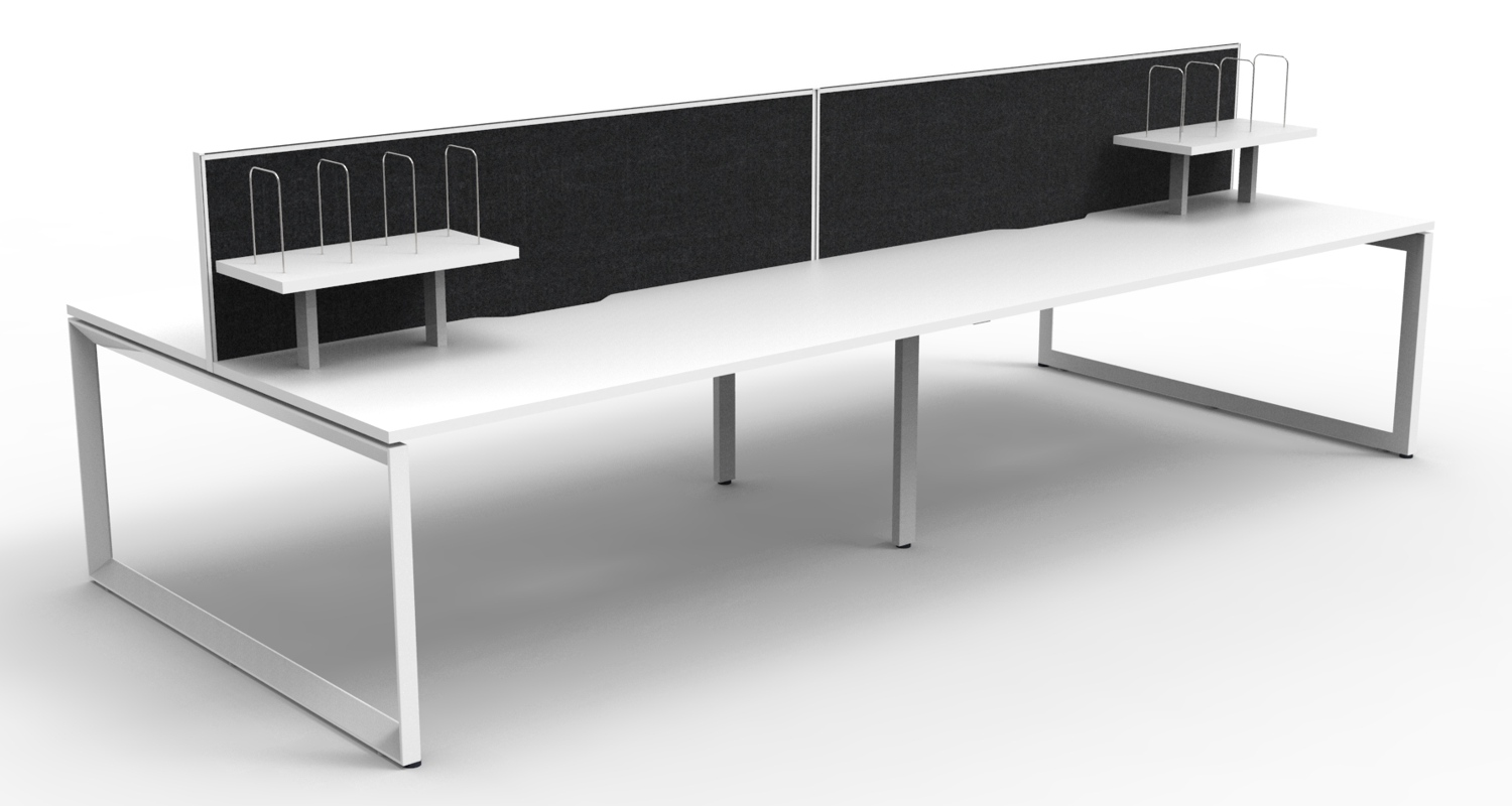 Infinity Workstations White Tops, White Loop Legs, Black Fabric Screens and Desk Mounted Shelves