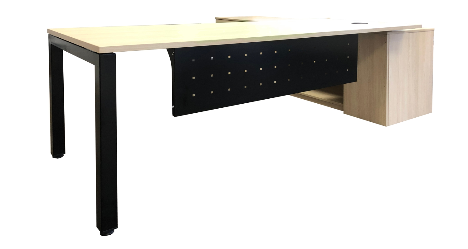 Axiom Executive Desk with Steel Profile Leg and Modesty