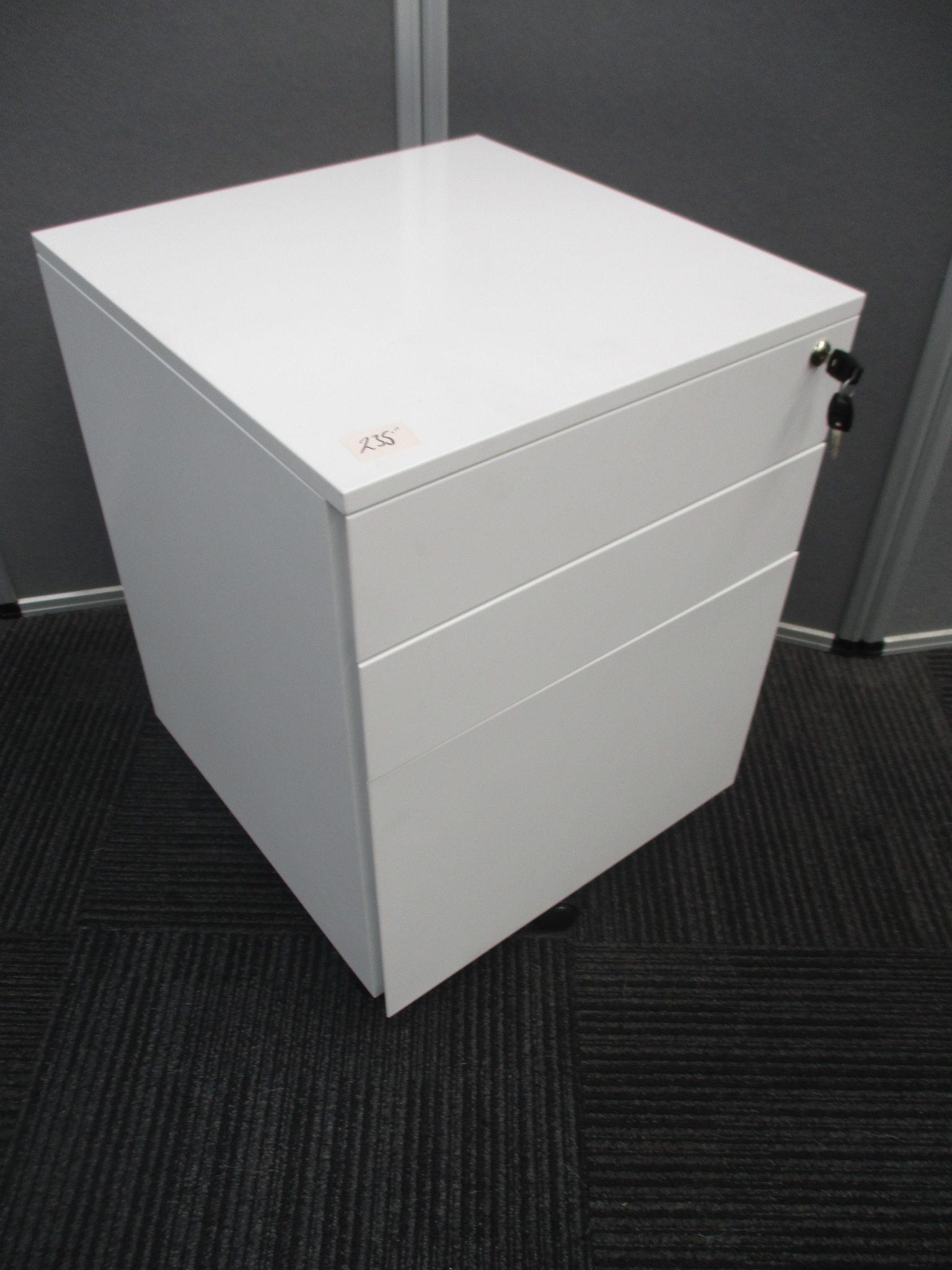 New GO White Steel 3 Drawer Mobile Pedestals $250