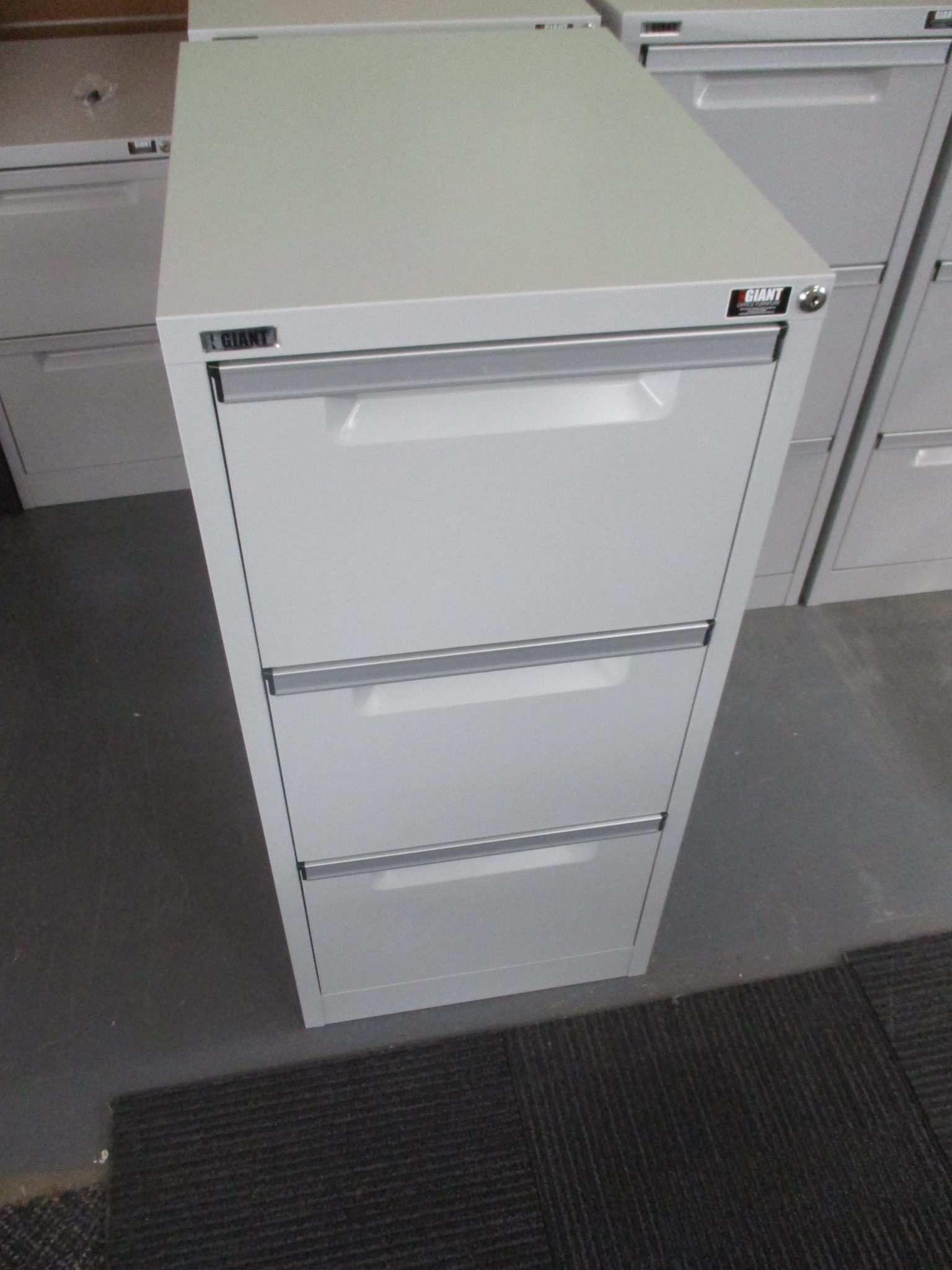 New Giant Light Grey 3 Drawer Filing Cabinets $260
