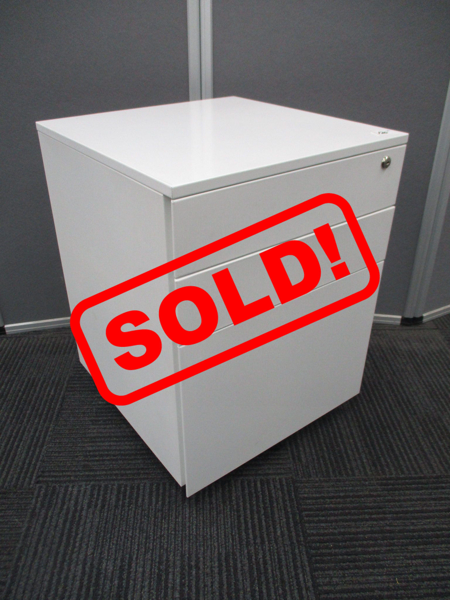 Used White 3 Drawer Mobile Pedestals $120