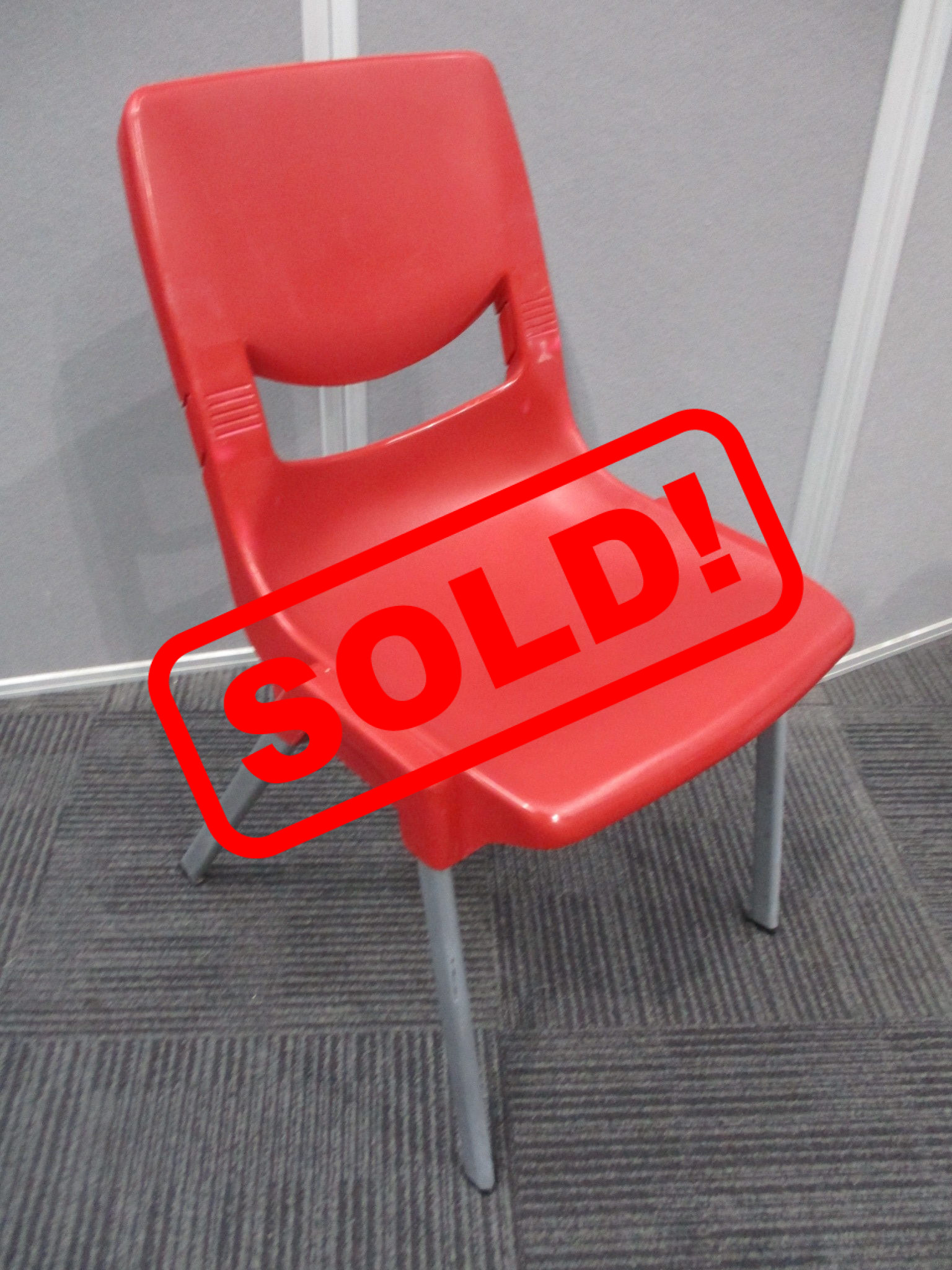 Red Plastic Stackable Visitor Chairs $20