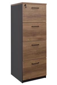 OM 4 Drawer Filing Cabinet Regal Walnut