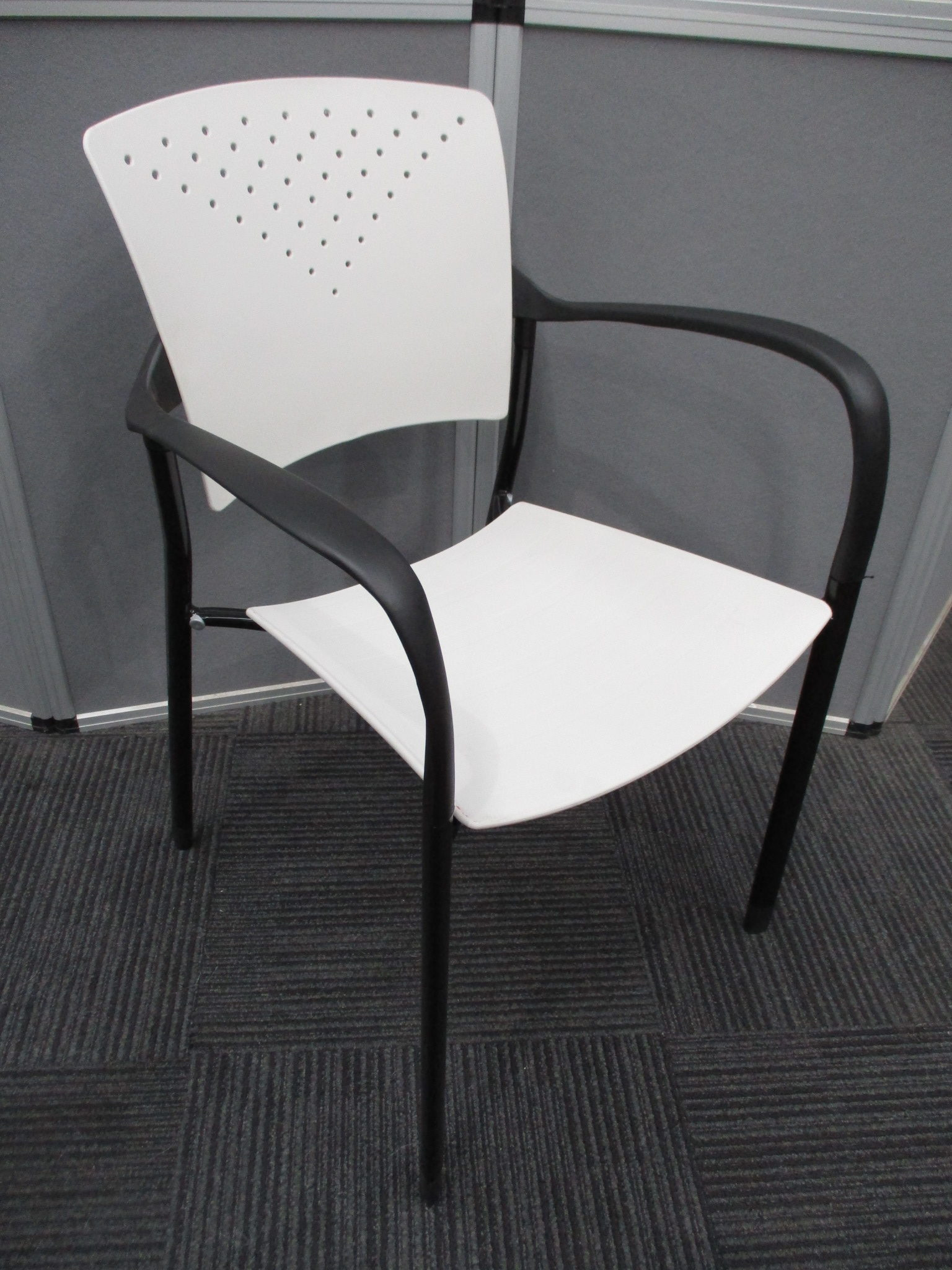 New White and Black Sienna Stacking Chairs $69