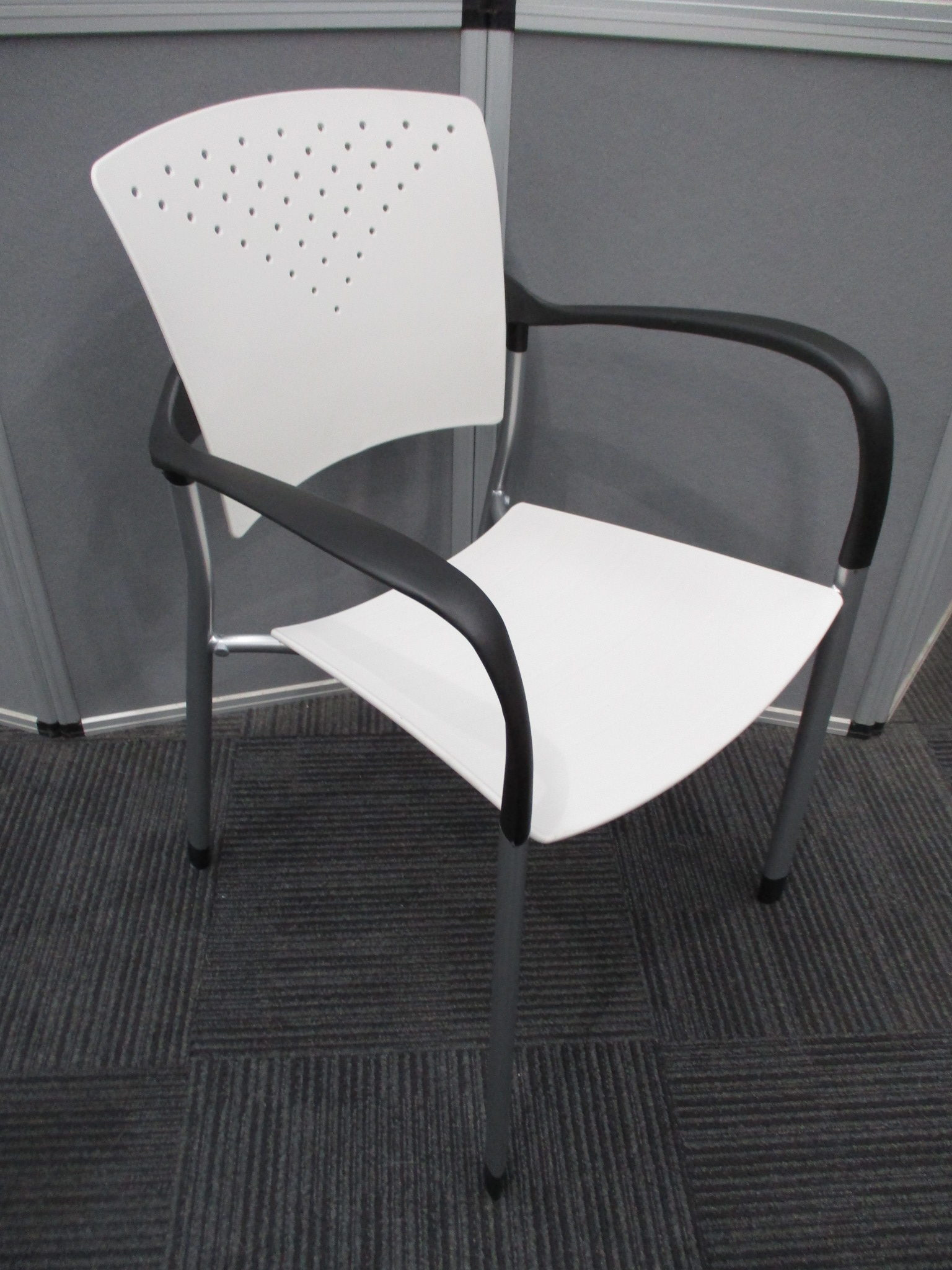 New White and Silver Sienna Stacking Chairs $69