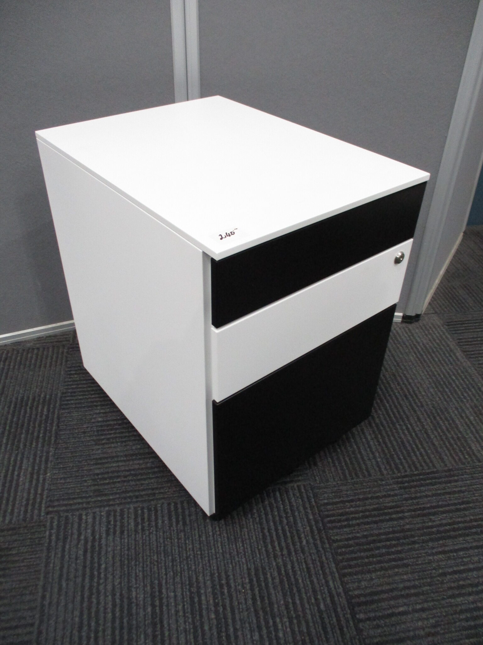 New Itsu Black and White Steel 3 Drawer Mobile Pedestal $240