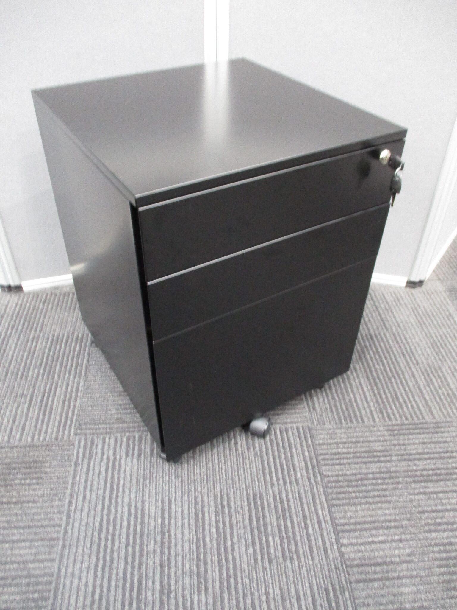 New GO Black Steel 3 Drawer Mobile Pedestals $250