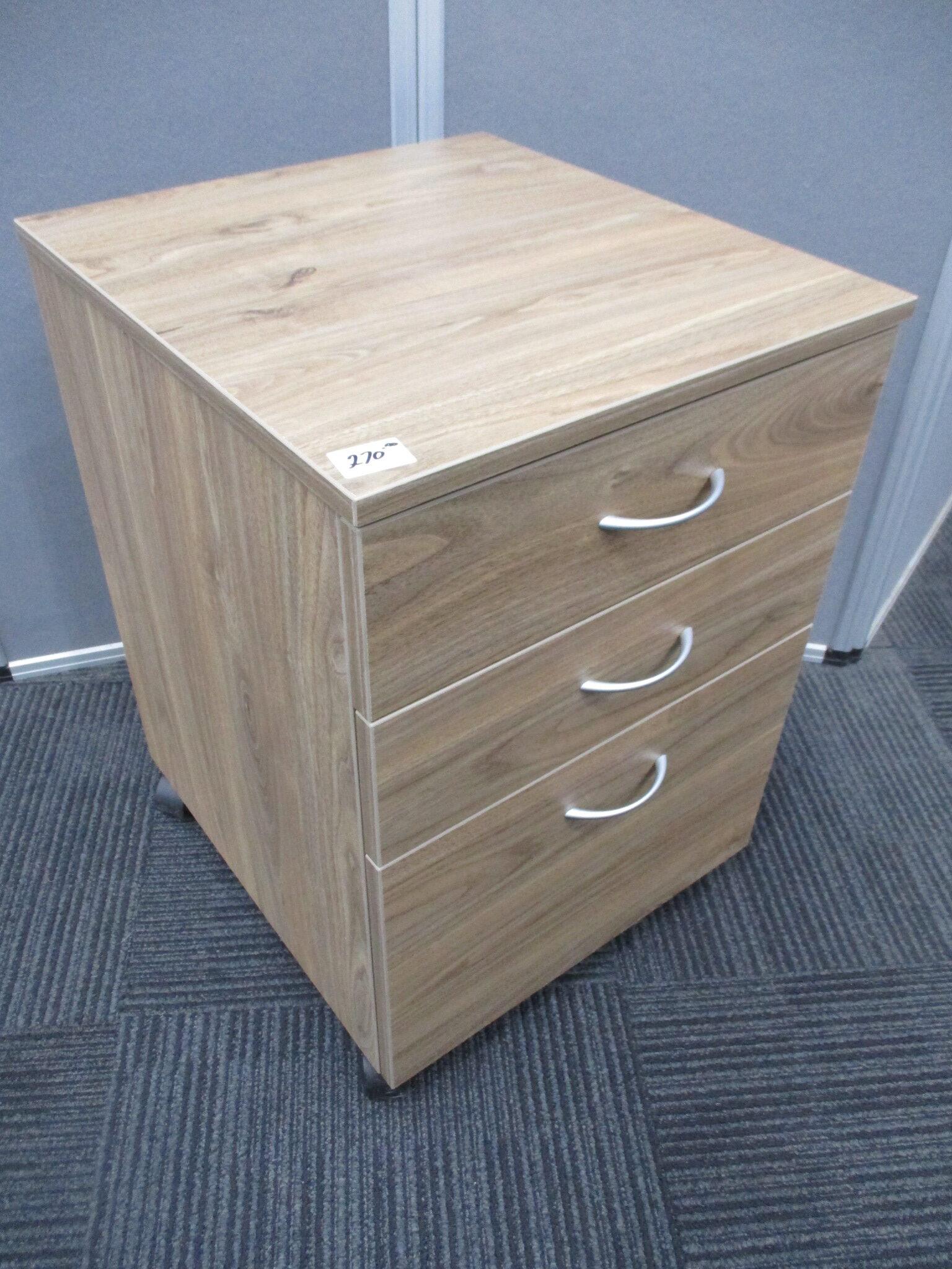 New Natural Walnut 3 Drawer Mobile Pedestals $270