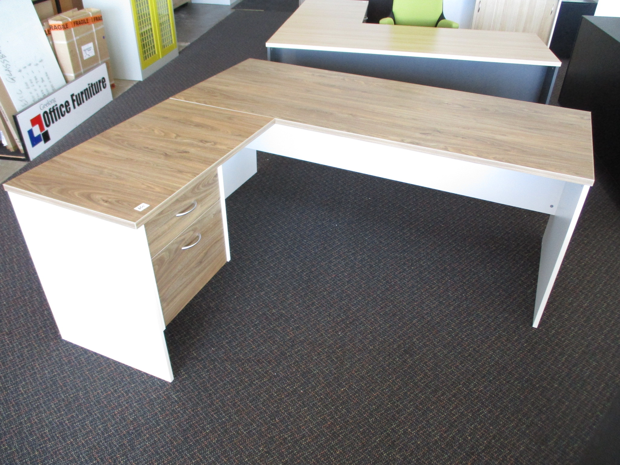 New Natural Walnut and White Desk with Return $650
