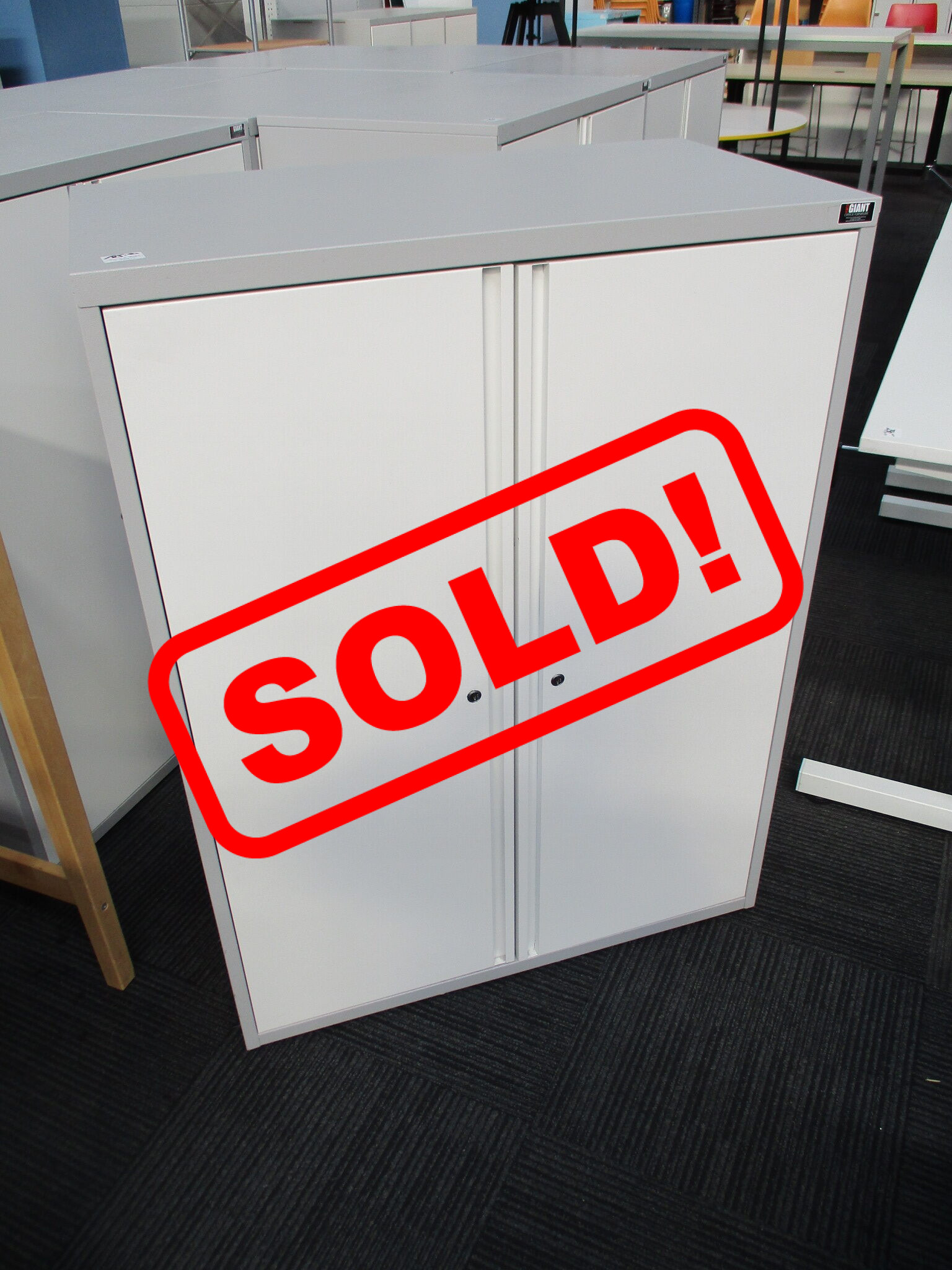 White and Grey Storage Cupboards $185